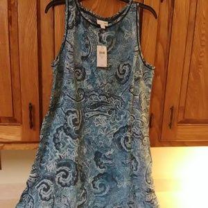 NWT J JILL blue linen side pockets dress med tall